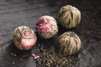Green chinese tea balls