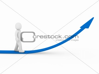 3d human arrow success growth blue