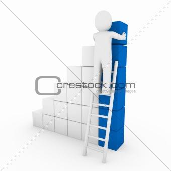 3d human cube ladder blue