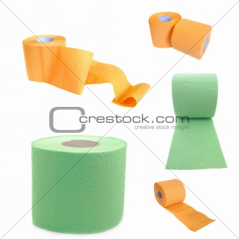 Toilet paper isolated on white background. Collage