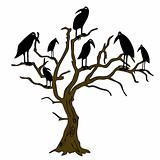 ravens on the rampike - vector