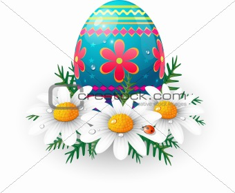 Easter egg with daisies and ladybug