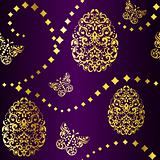 Seamless Easter background in purple and gold