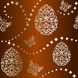 Seamless Easter background in brown and gold