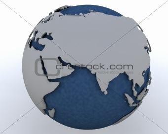 Globe showing middle east region
