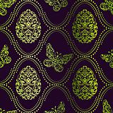 Seamless Easter background in purple and green