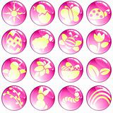Set of high-gloss pink spring icons