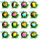 Set of chocolate Easter icons