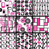 Name: Collection of mod seamless patterns in pink and black