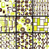 Name: Collection of mod seamless patterns in green and brown