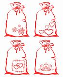 Valentine symbol on bag, set