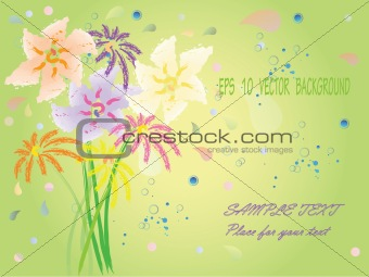 background with hand drawn fantasy flowers