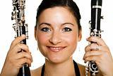 Cheerful clarinetist women