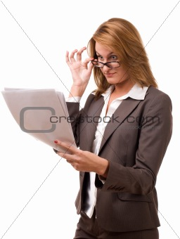 Business woman looking at papers