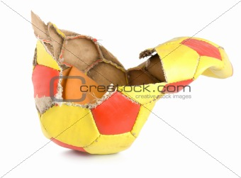 Old ragged soccer isolated