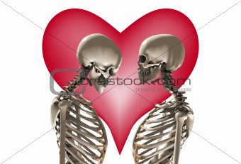 Skeletons With Love Heart
