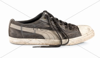 Old sneakers isolated