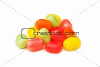 Various jelly beans isolated on the white background