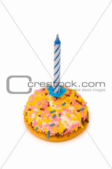 Cup cake and candle isolated on the white background