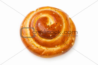Fresh bun isolated on the white background