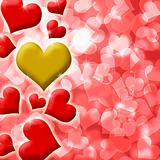 Happy Valentines Heart of Gold Background