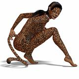 female fantasy leopard creature