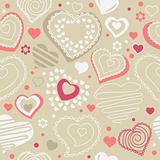 Seamless pattern with red contour shapes