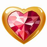 Ruby gold heart
