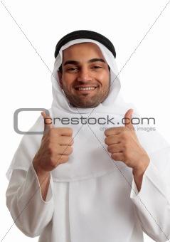 Arab man thumbs up success
