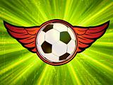 Grunge emblem, winged soccer ball. EPS 8