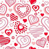 Seamless pattern with red contour hearts
