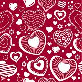 Seamless pattern with  contour hearts