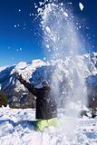 Snowboarder in Dolomites