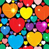Abstract background with multicolor hearts