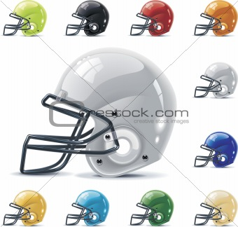 Vector American football / gridiron icon set. Part 2  Helmets