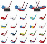 Vector ice hockey sticks country flags icons, Part 1