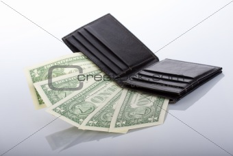 black leather wallet with one dollar banknotes