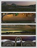 four different fantasy landscapes for banner, background or illustration