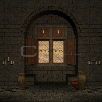 beautiful illuminated window in a fantasy room