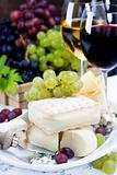 Grape, wine and cheese