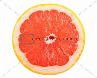 Slice of ripe grapefruit