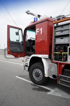 Fire truck with open door