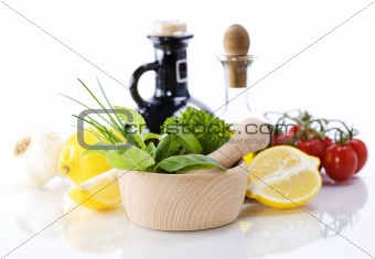 Olive oil, vinegar, Healing herbs and vegetables