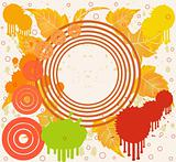 Grunge floral background in orange design, vector illustration