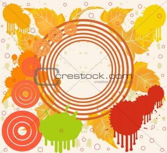 Grunge floral background in orange design, vector illustration