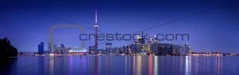 Toronto skyline at dusk (8:10 at night)