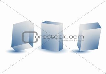 3D blue boxes