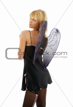 black lingerie angel blond