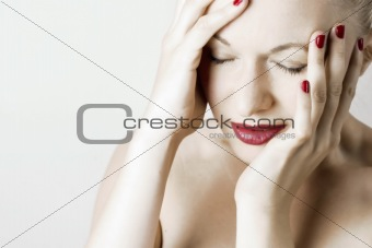 Beautiful woman with headache