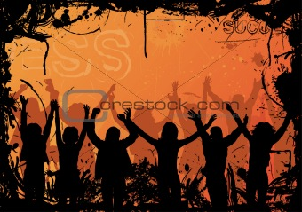 Grunge background with jumping silhouettes, vector
